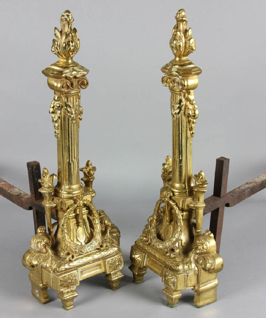 Pair of French Brass Andirons - 2