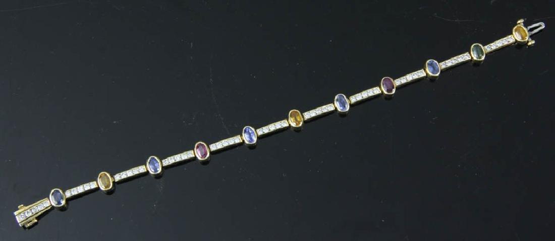 14k Yellow gold Diamond and Sapphire Bracelet