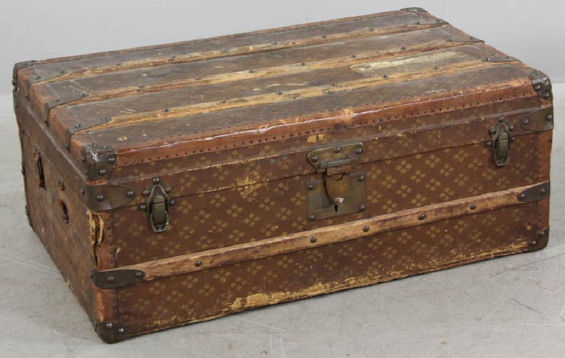 Antique French Aux Estats-Unis Trunk