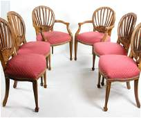 Set of Six Custom Carved Dining Chairs