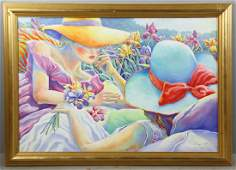 Two Women in Garden, Oil on Panel