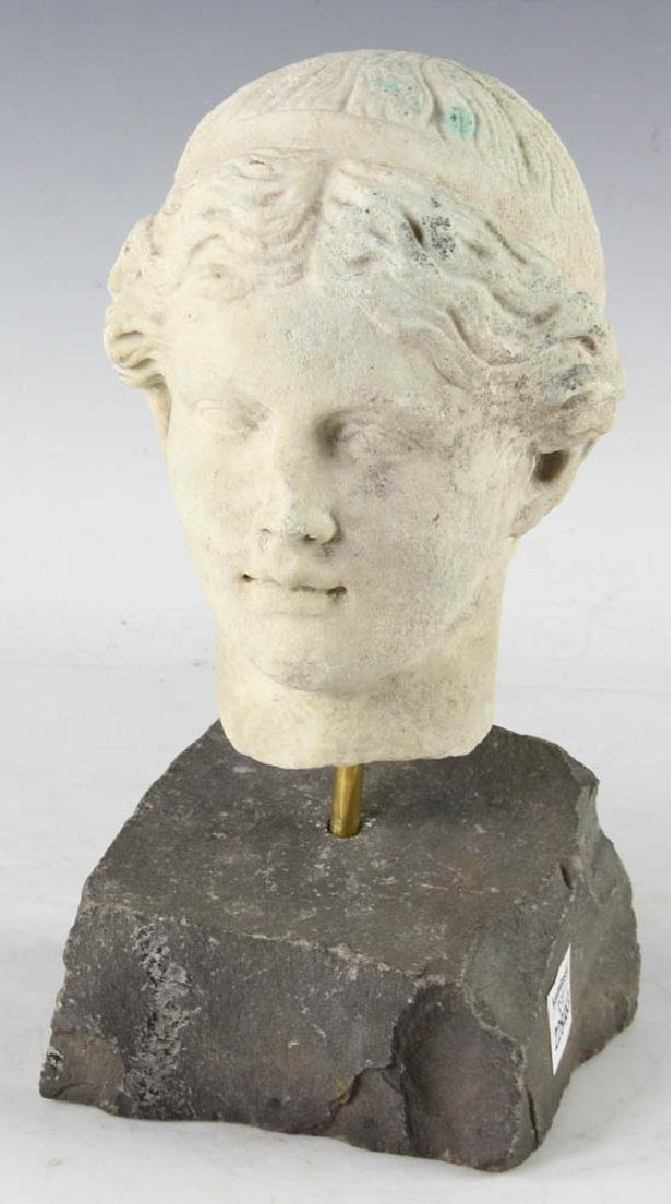 18thC Greek Marble Sculpture of a Womans Head