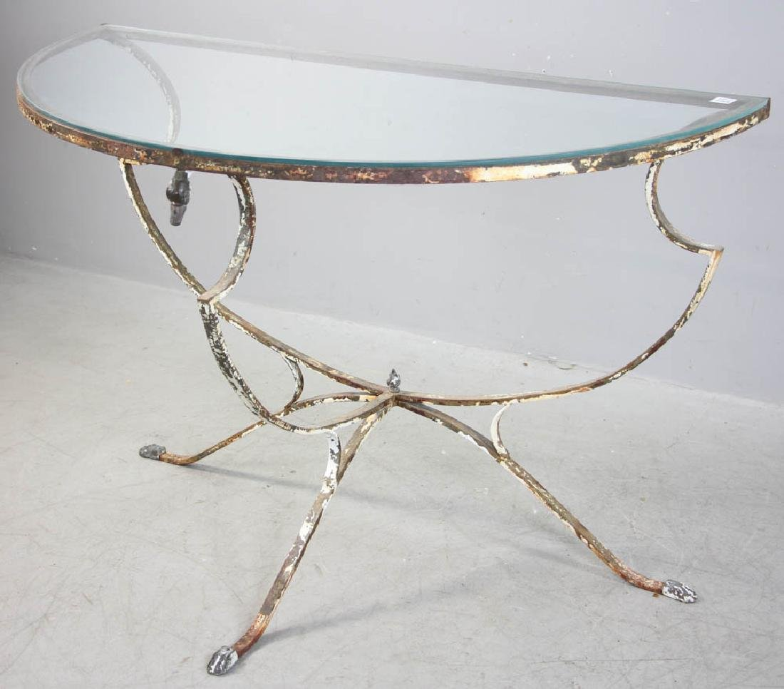 Demilune Glass Table, Wrought Iron Base - 2