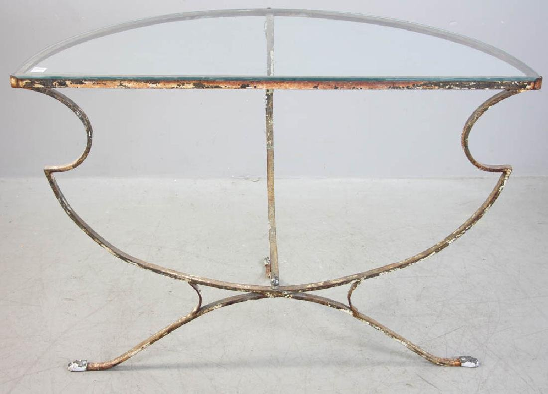 Demilune Glass Table, Wrought Iron Base - 4