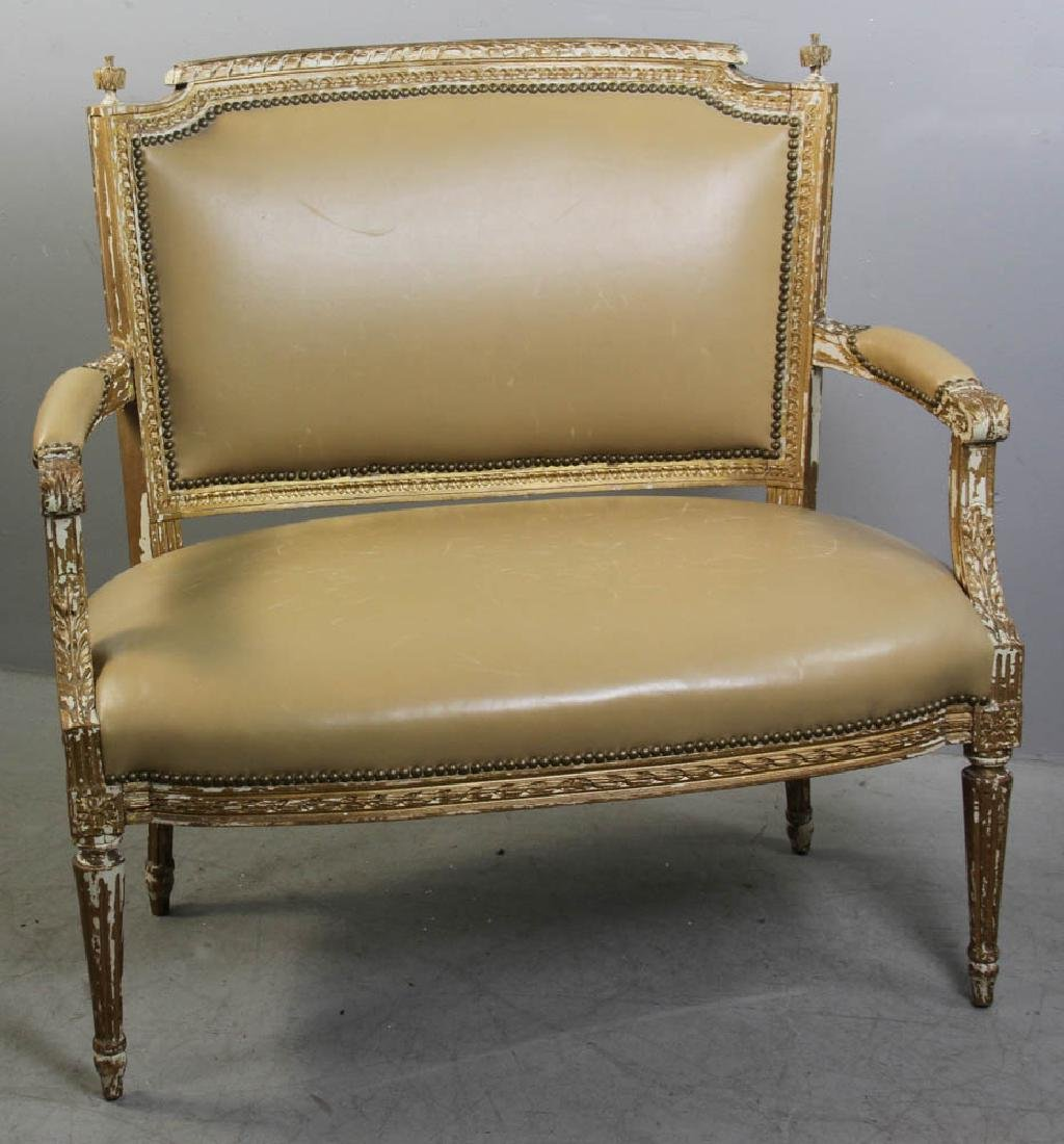 Louis XV Style Loveseat, Leather Upholstery