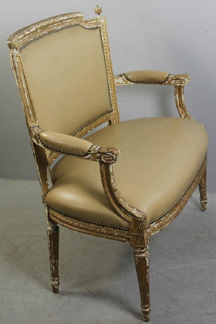 Louis XV Style Loveseat, Leather Upholstery - 2