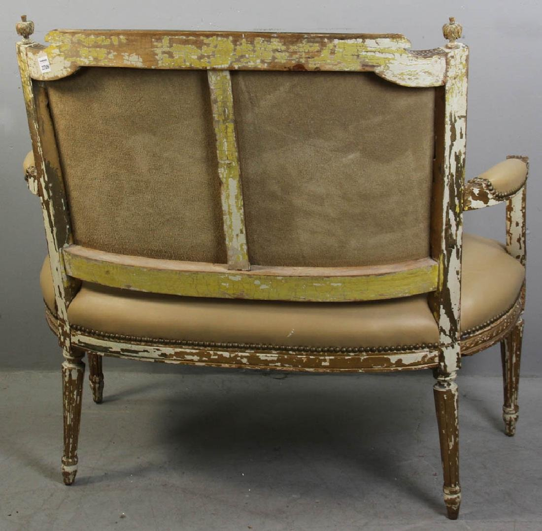 Louis XV Style Loveseat, Leather Upholstery - 3