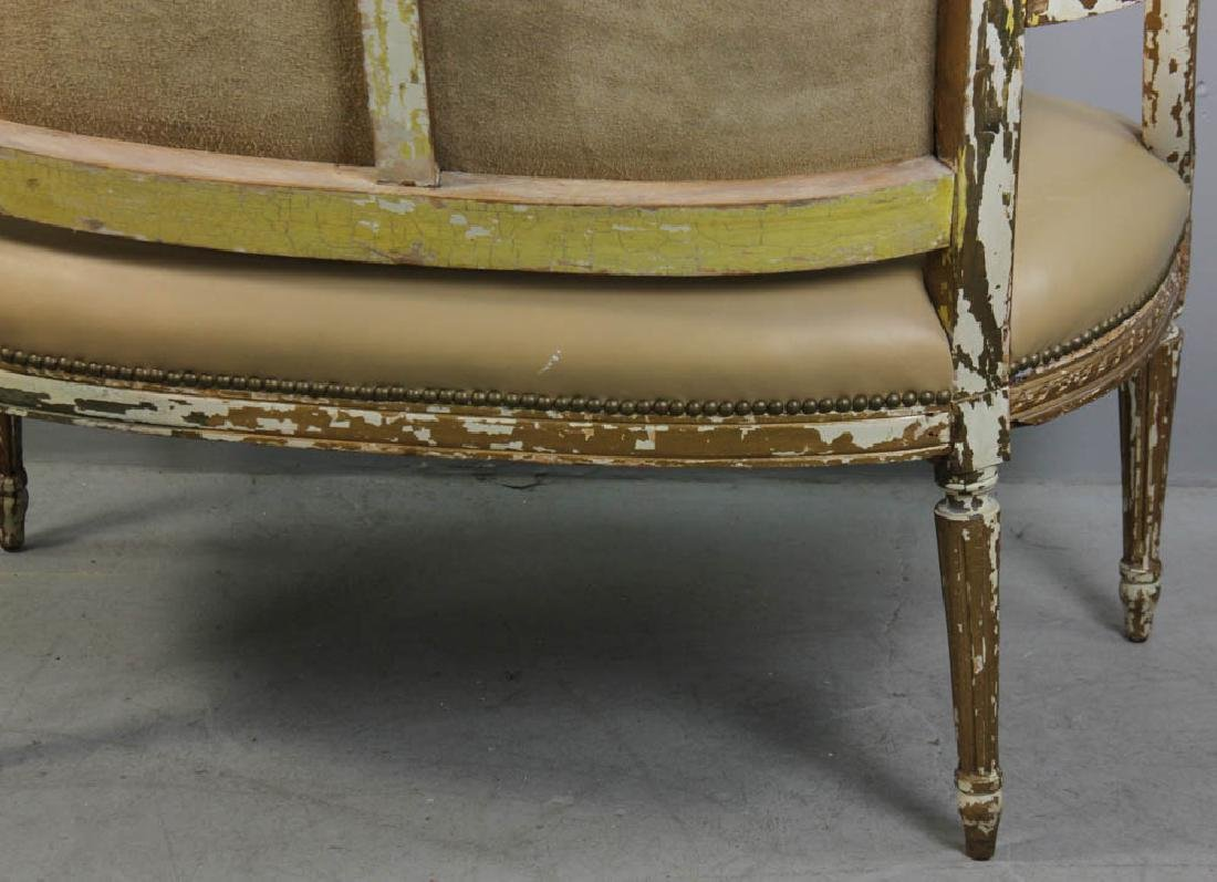 Louis XV Style Loveseat, Leather Upholstery - 4