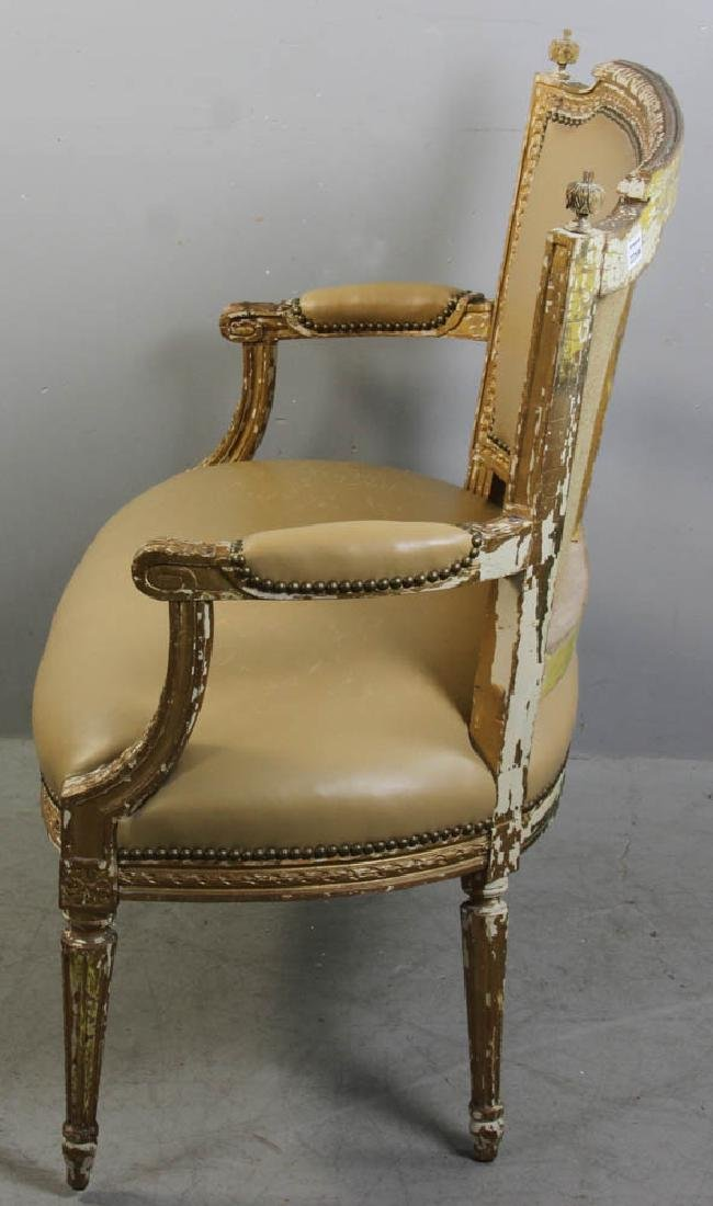 Louis XV Style Loveseat, Leather Upholstery - 5