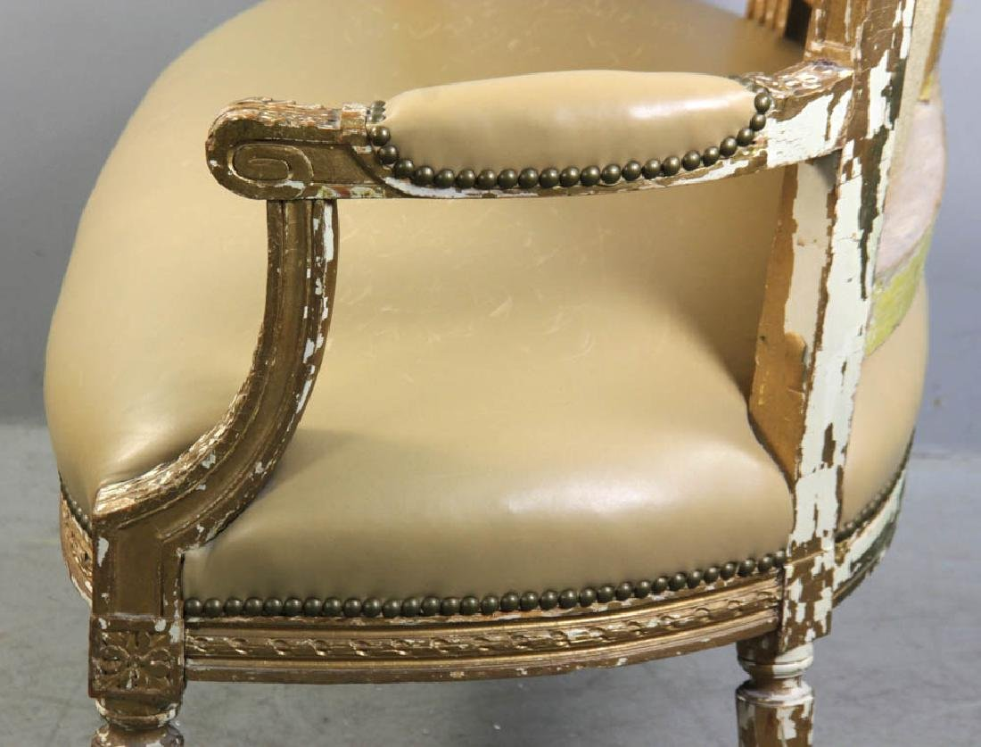 Louis XV Style Loveseat, Leather Upholstery - 6