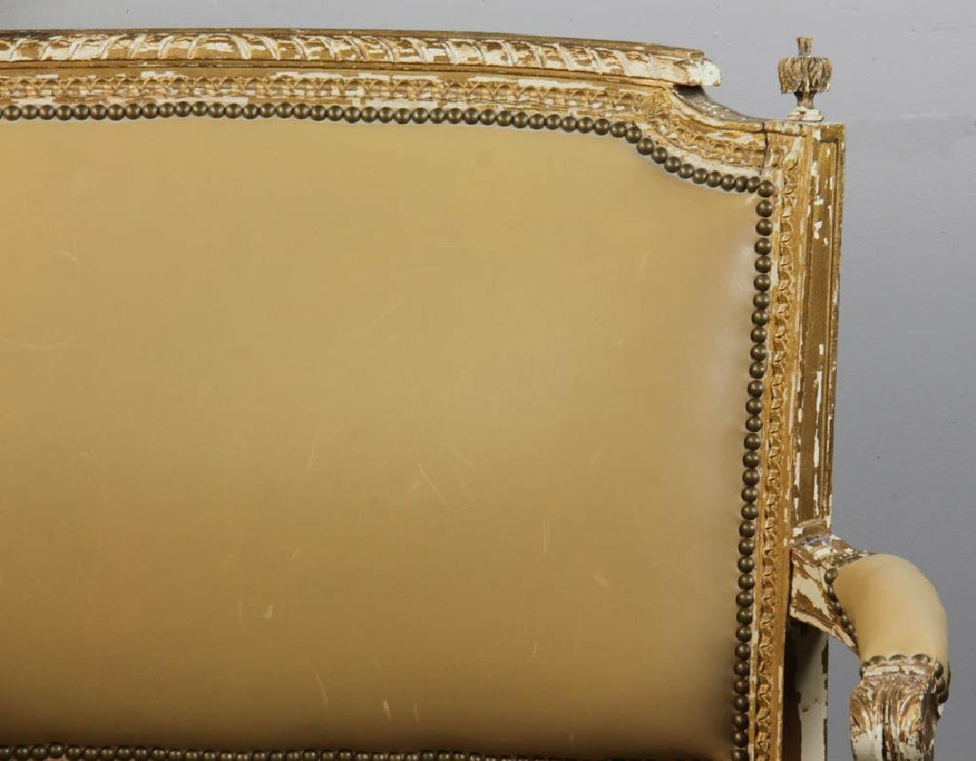 Louis XV Style Loveseat, Leather Upholstery - 7