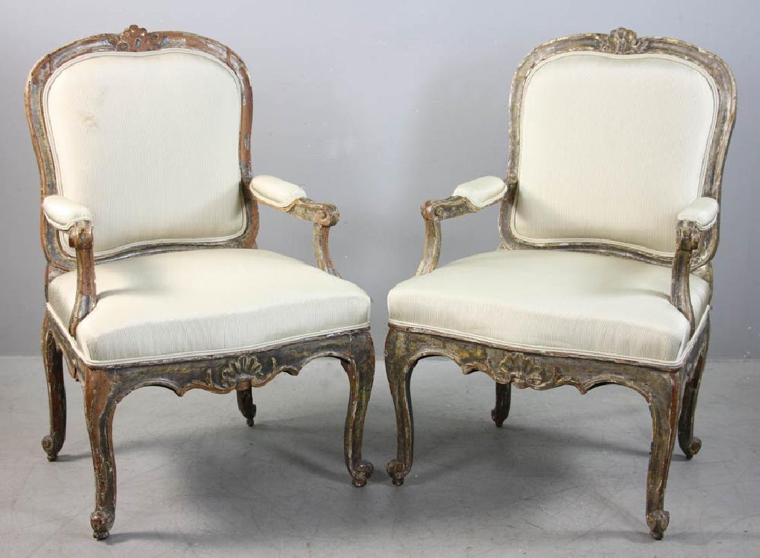 Pair of Louis XV Fauteuil, Silk Upholstery