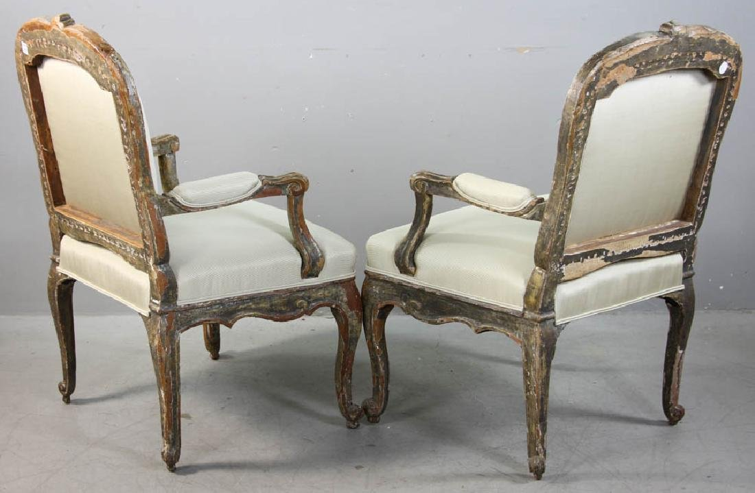 Pair of Louis XV Fauteuil, Silk Upholstery - 2