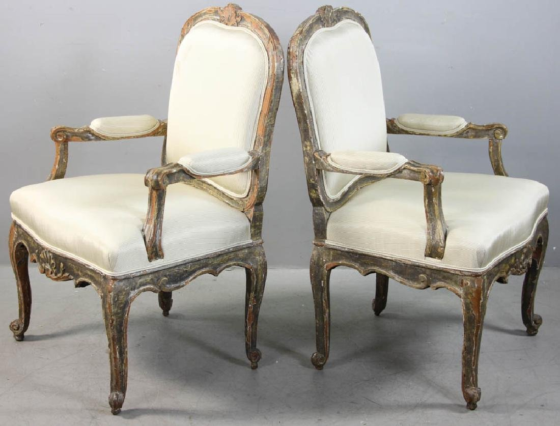 Pair of Louis XV Fauteuil, Silk Upholstery - 3