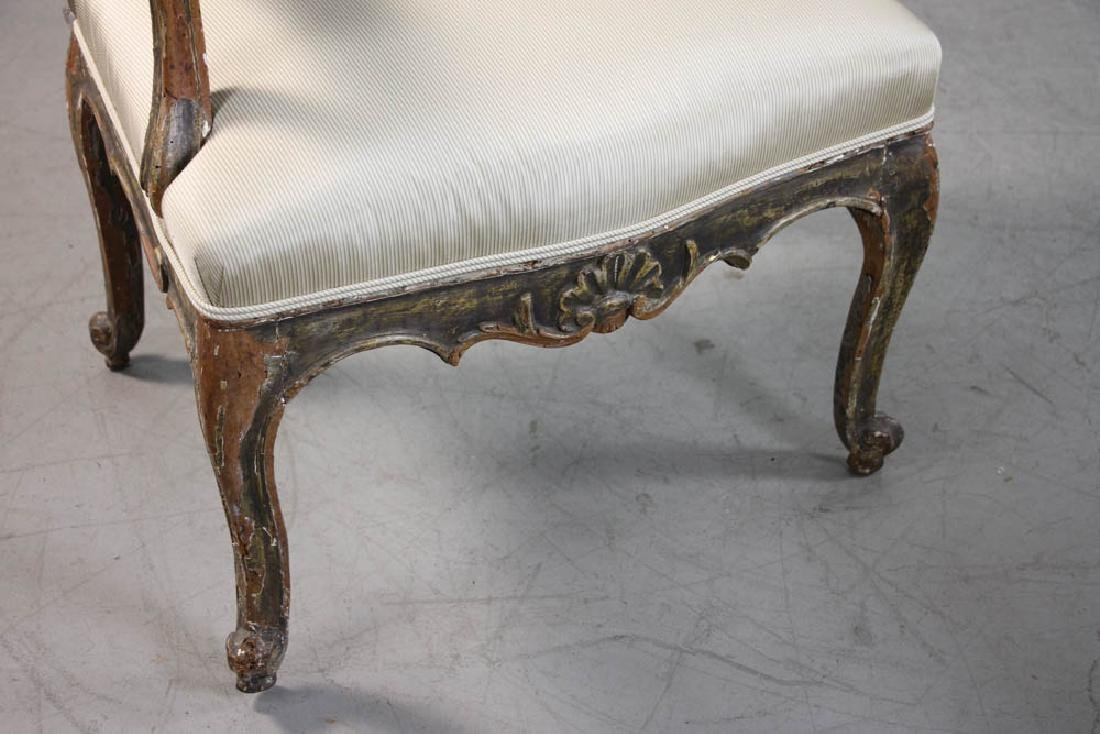 Pair of Louis XV Fauteuil, Silk Upholstery - 4
