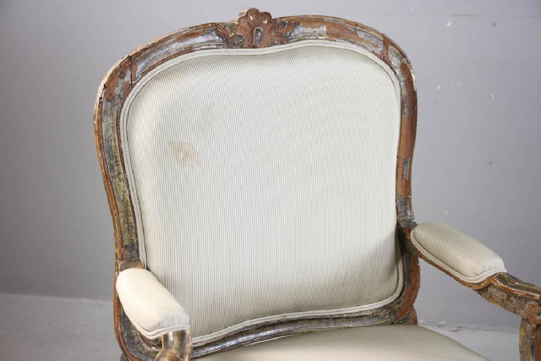Pair of Louis XV Fauteuil, Silk Upholstery - 5