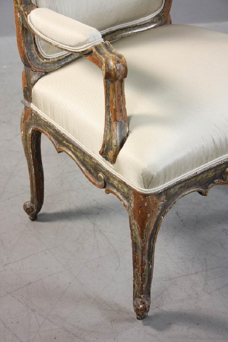 Pair of Louis XV Fauteuil, Silk Upholstery - 6