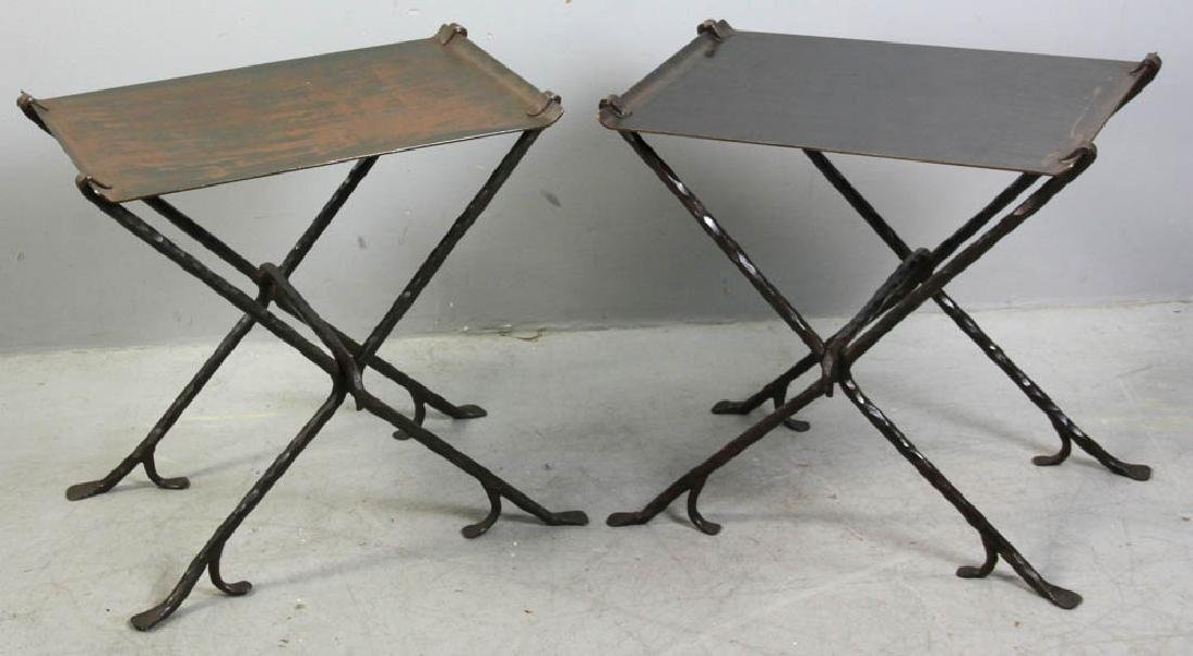 Pair of Custom Wrought Iron Metal Tables