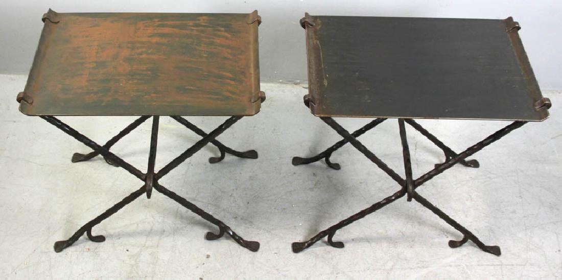 Pair of Custom Wrought Iron Metal Tables - 5