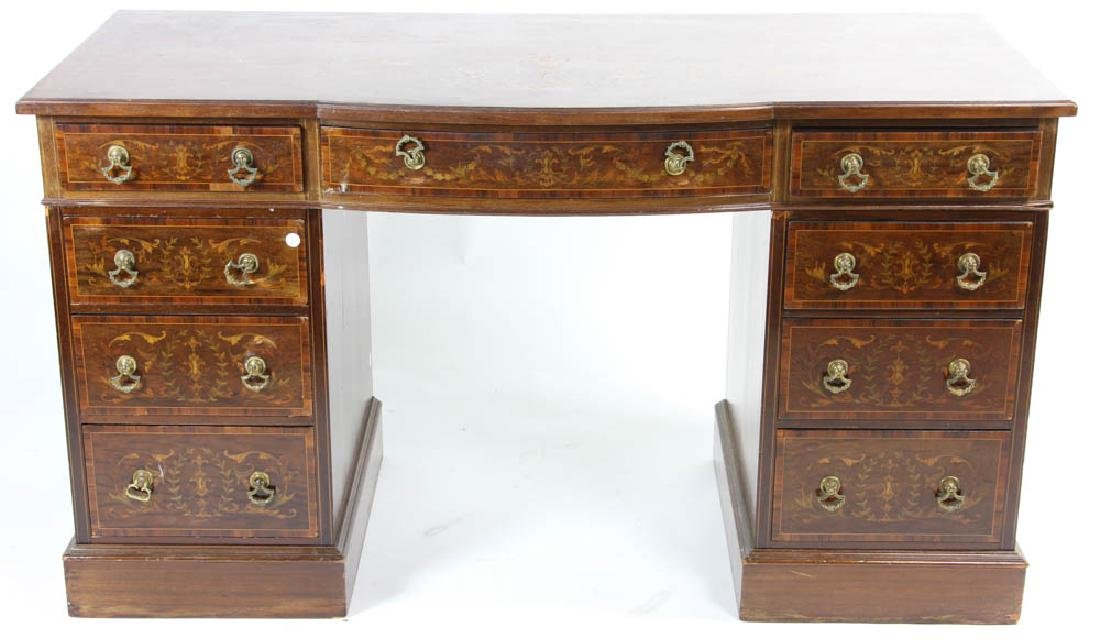 Knee Hole Desk with Marquetry Inlay