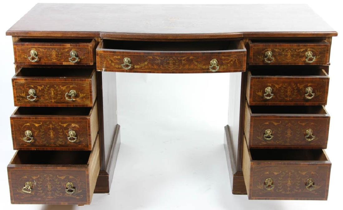 Knee Hole Desk with Marquetry Inlay - 2