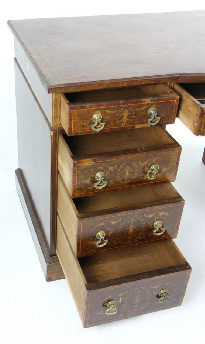 Knee Hole Desk with Marquetry Inlay - 4