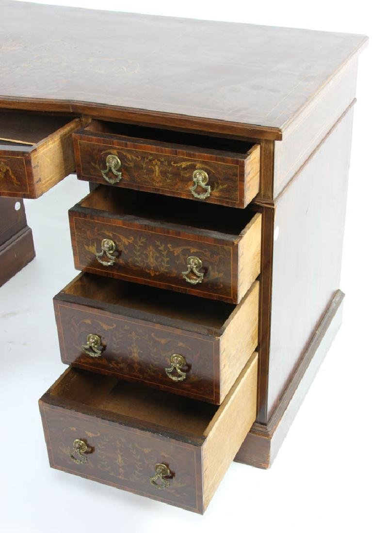 Knee Hole Desk with Marquetry Inlay - 5