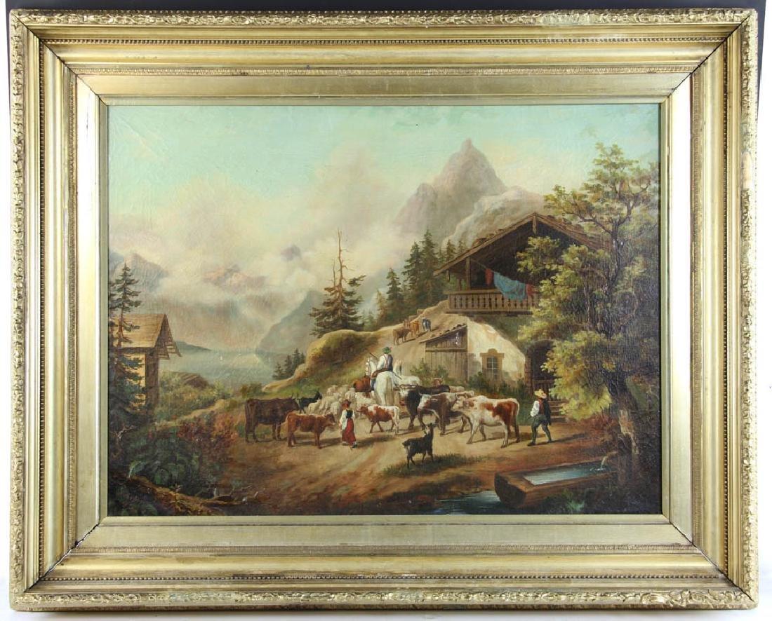 19thC Italian Alps Oil on Canvas