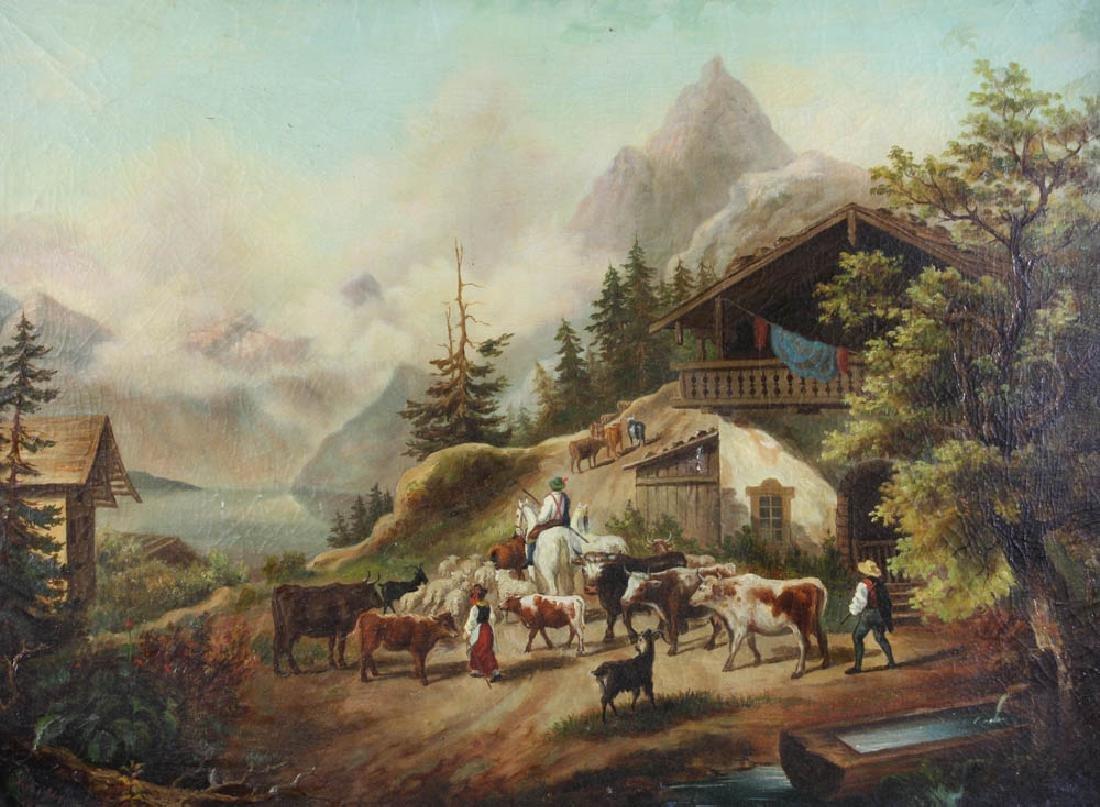 19thC Italian Alps Oil on Canvas - 2