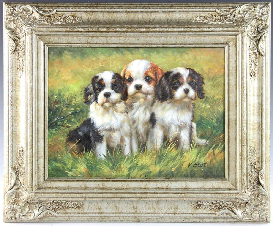 Oil on Board Portrait of Three Puppies