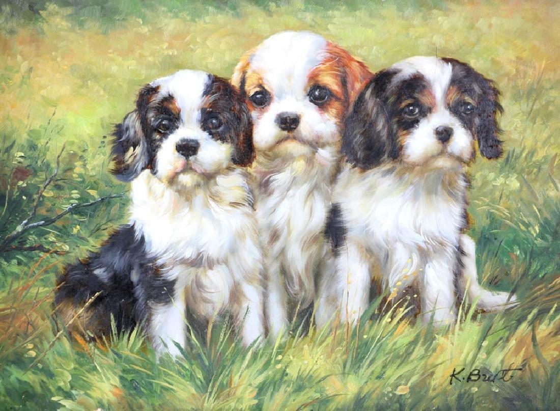 Oil on Board Portrait of Three Puppies - 2