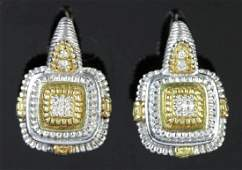 Judith Ripka Sterling 18k Diamond Earrings