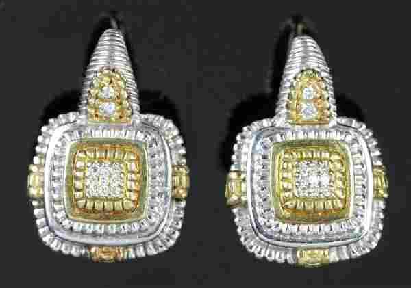 Judith Ripka Sterling 18k Diamond Earrings