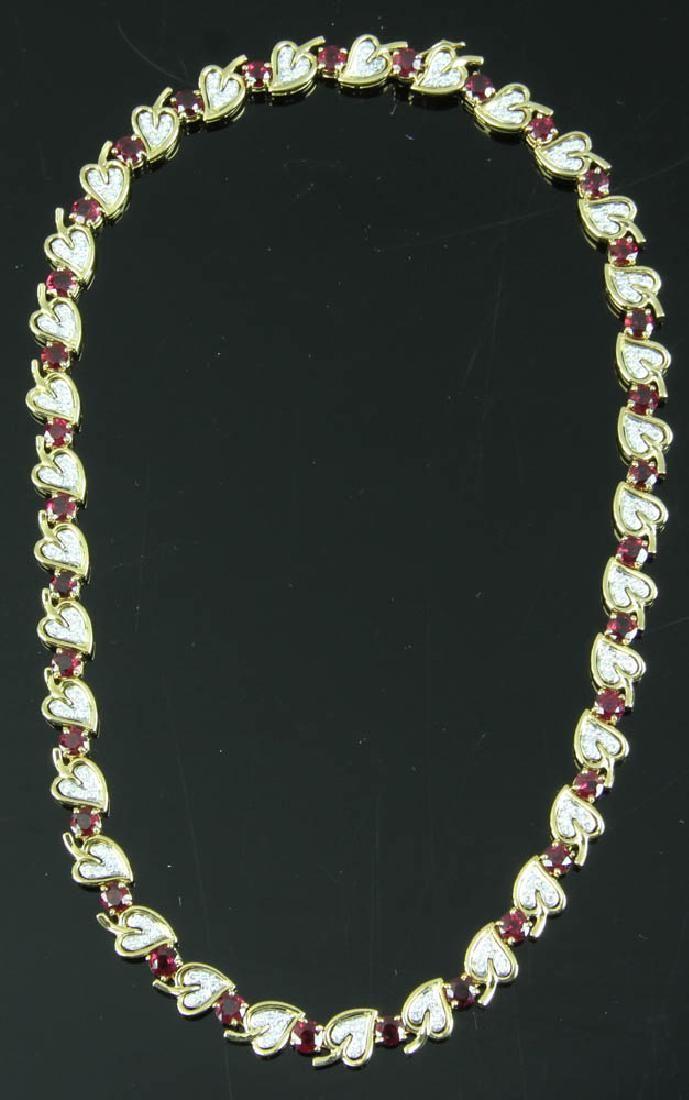 Tiffany 18k Heart Shape Ruby Diamond Necklace