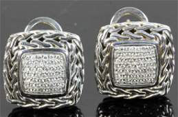 John Hardy Sterling 18k Diamond Earrings