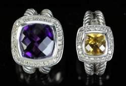 Two David Yurman Sterling and 18k Rings