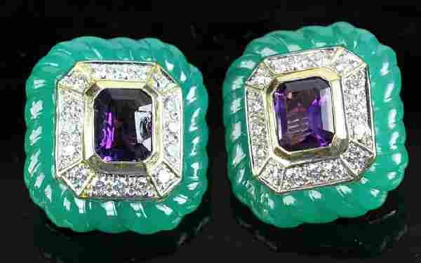 14k Gold Amethyst Diamond Jade Earrings