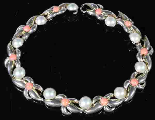 Tiffany Sterling and 18k Pearl Coral Necklace