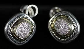 David Yurman 18k Sterling Diamond Earrings