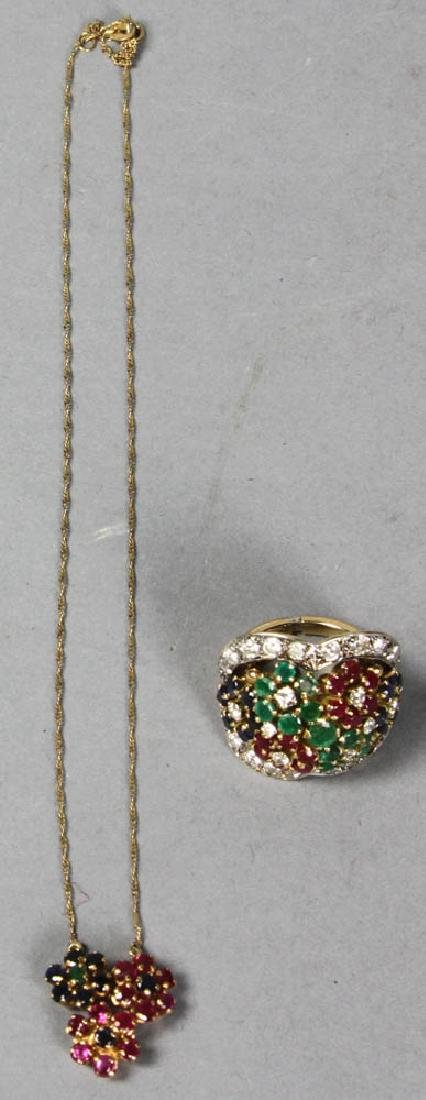14k Ladies Gemstone Ring and Necklace