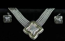 David Yurman Sterling 18k Necklace Earrings
