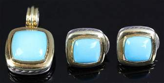 David Yurman Sterling 18k Turquoise Suite