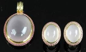 David Yurman 18k Moonstone Earrings and Pendant