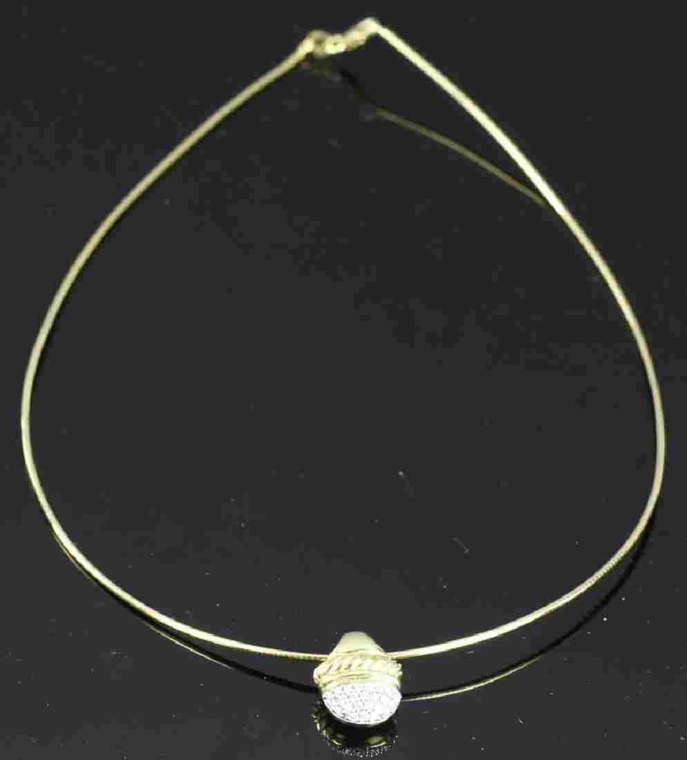 David Yurman 18k Diamond Acorn Necklace
