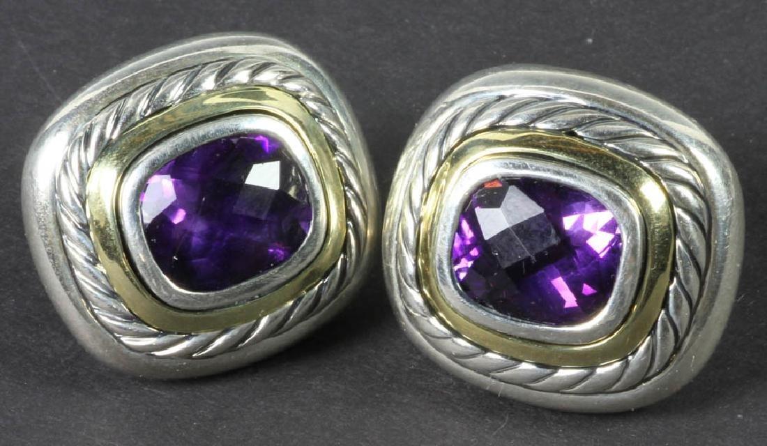 David Yurman Sterling 14k Amethyst Earrings