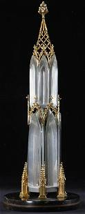 Rare Steuben Crystal, 18K Gold and Diamond Spire