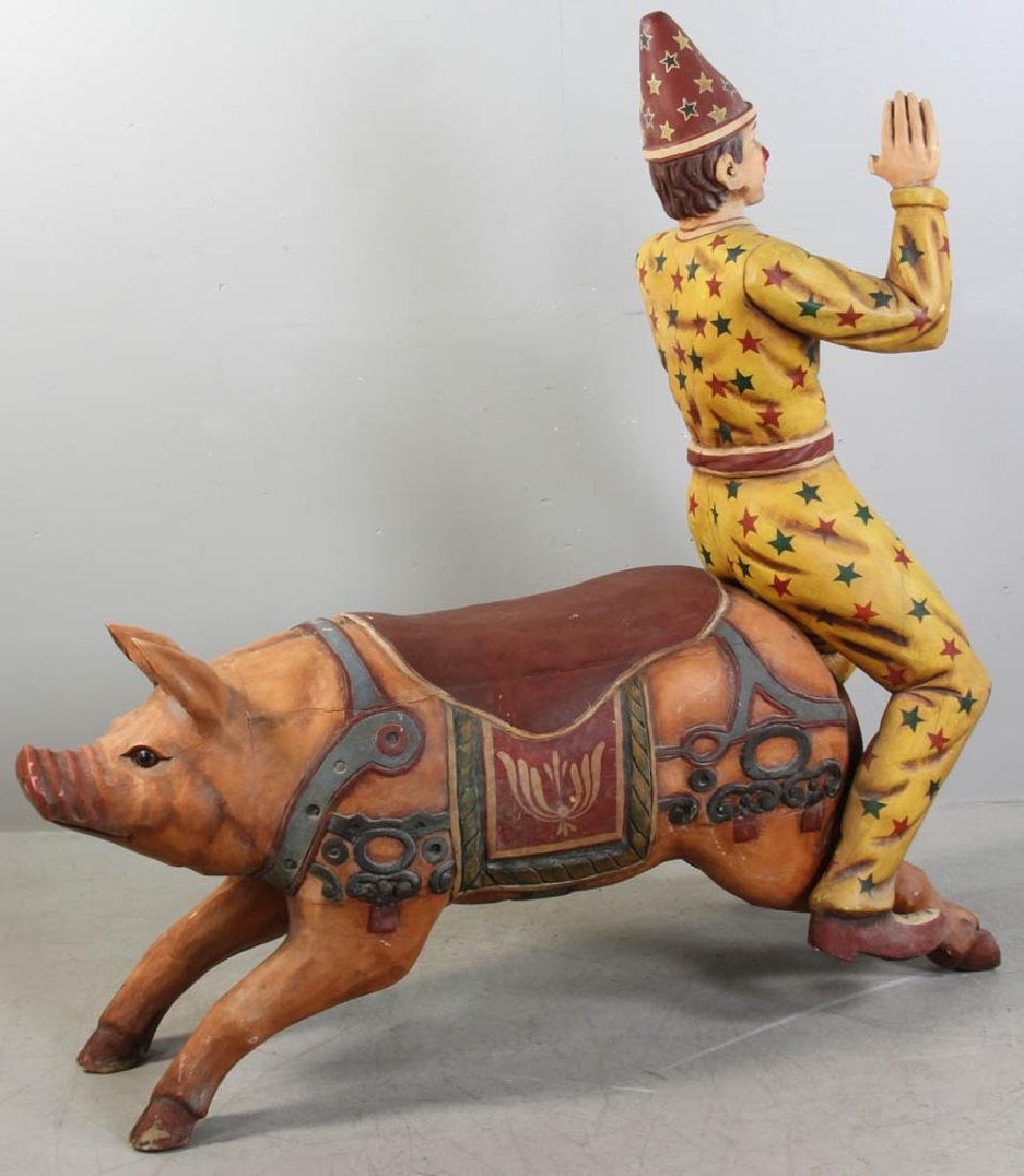 Carved Wood Carousel Figure Pig and Clown