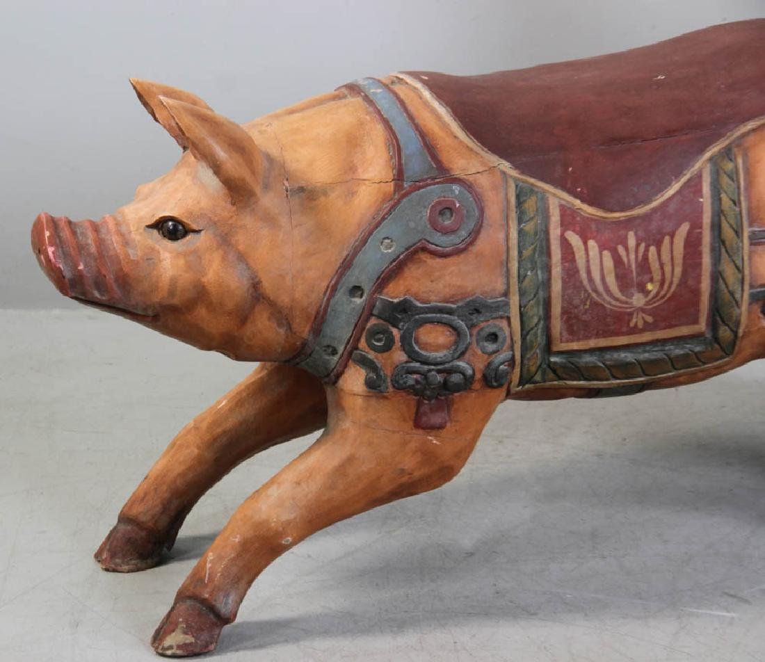 Carved Wood Carousel Figure Pig and Clown - 2