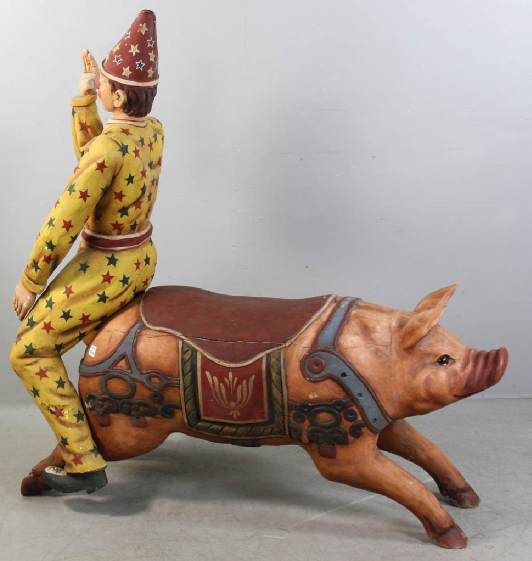 Carved Wood Carousel Figure Pig and Clown - 5