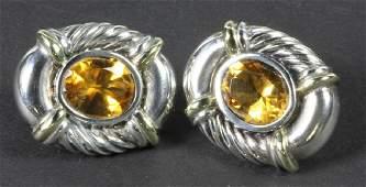 David Yurman Sterling 18k Citrine Earrings